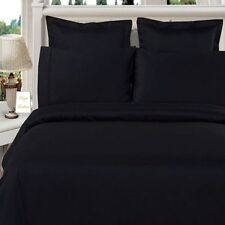 "1000TC Solid ""Black"" Extra Pockets (1PCs) Bed Fitted Sheet 100% Egyptian Cotton"