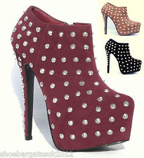 Womens Black Wine Tan High Heel Platform Studded Ankle Boots Casual Party UK 3-8