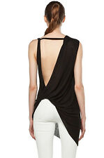 $185 NWT HELMUT LANG Asymmetric Threadbare Twist Back Strap Tunic Tank Top Black