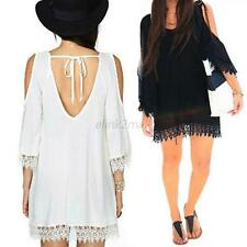 Women's Summer Casual 3/4 Sleeve Loose Blouse Tops Evening Party Mini Dress E36