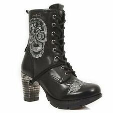 NEWROCK TR048-S1 Trail Sugar Skull White Gothic Punk Leather Heel Boots