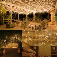 100 200 LED Outdoor Party Garden Lights Warm White Solar Powered Fairy Light