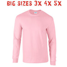 Big 3X 4X 5X Men's Long Sleeve T Shirt Plain Unisex 3XL 4XL 5XL Light Pink