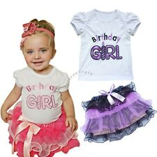 1st Birthday Outfit Baby Toddler Girl Top T shirt Tutu Skirt Flower Party Dress