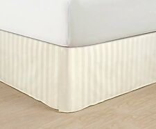 Ivory Striped 1-Piece Tailored Bed Skirt 100% Egyptian Cotton Drop Lengths 800TC