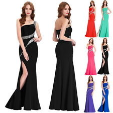 One Shoulder Rhinestones Slitted Long Prom Party Dress Bridesmaid Evening Gowns