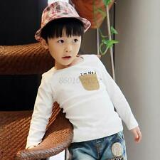 5 Sizes Toddler Clothes Baby Kids Boys Girls Casual Long Sleeve T-shirt Tops B63