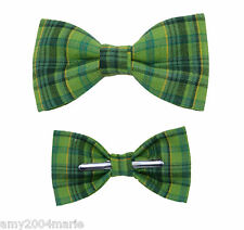 Green Plaid Clip On Bow Tie - Choose Men / Boys / Toddler 2T 3T