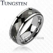 Stylish FAMA TUNGSTEN Multi-Faceted Prism Cut Black IP Spinner Ring Size 10-13