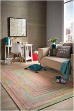 Capel Rugs Soft Chenille Baby's Breath Grass Multi Pastel Concentric Braided Rug