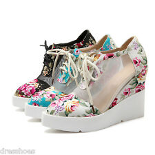 Women's Wedges Lace-up Shoes Sandals Floral Fabric Mesh Ankle Boots AU Size O099