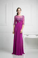 Modest Three Quarter Sleeve Mother of the Bride Long Dress Plus Size Formal