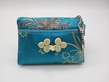 """SILK EMBROIDERED COIN PURSE 5"""" Small Change Wallet Pouch Bag Zipper Case"""