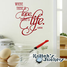Where There Is Love There Is Life - Gandhi quote Vinyl Wall Decal sticker L008