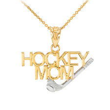 Two-Tone Gold HOCKEY MOM Stick & Puck Sports Charm Pendant Necklace