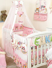 BEDDING SET COT&COT BED 3 PCS,4,6,9,COT TIDY,DUVET,BUMPER CANOPY-Pink&White Owls
