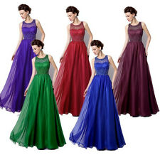 New Long Chiffon Evening Cocktail Dress Bridal Guest Gown Purple Burgundy Blue