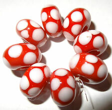 8 RED WITH WHITE SPOTTY DOTTY  LAMPWORK BEADS SRA