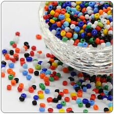 50g/75g Glass Seed Beads, 11/0 + 8/0  Mixed Sizes + Mixed Colours In One Bag