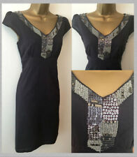 Per Una M&S Summer Cotton Beaded Indigo Dark Blue Tea Shift Dress Size 10