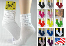 12 Pairs Thin 80s Slouch Scrunch Socks Crew Length Shoe Sz. 6-10 - SELECT COLOR