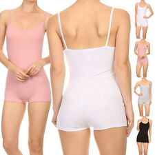 Women Sexy Solid Bodycon Style Low Back Romper Bodysuit Spaghetti Strap Tank Top