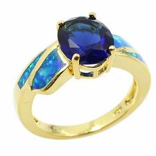 925 Sterling Silver Beautiful Opal Diamond Wedding Ring Golden Size 6 7 8 9 W2U2