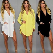 Womens Casual Long Sleeve V-Neck Oversize Loose T Shirt Mini Dress Top Blouse