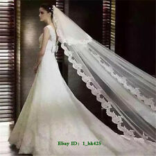 New 2T Ivory/White 3M Lace Edge Cathedral Length Bridal Wedding Veil With Comb
