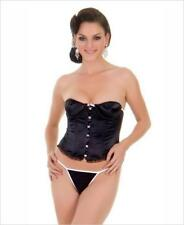 2 PC Sex y Satin Corset With Lace Up Back and Matching G-String - Basque Bodice