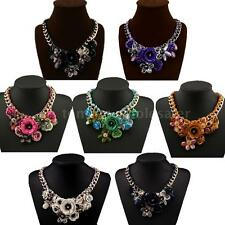 Fashion Gold Chain Rhinestone Crystal Flowers Choker Bib Statement Necklace Z1B4