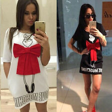 Womens Summer Sexy Casual Short Sleeve O-neck Bowknot Loose Mini Dress Long Tops