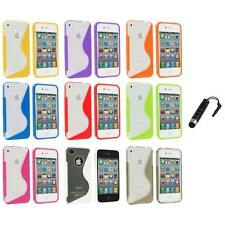 TPU Color Clear S-Shape S-Line Rubber Case Cover+Stylus Plug for iPhone 4S 4G 4