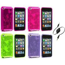 Butterfly Flower TPU Rubber Case Cover+Aux Cable for iPod Touch 4th Gen 4G 4
