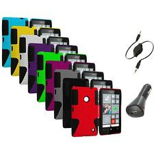 For Nokia Lumia 520 Hybrid Mesh Hard/Soft Silicone Color Case Cover+Aux+Charger