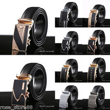 Genuine Leather Mens Automatic Buckle Belts Any Style Waist Strap Belt Waistband