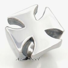 Men High Polished Cross Solid 316L Stainless Steel Biker Ring US Size 8-13