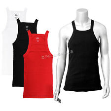 Square Cut Ribbed Tank Top Mens Cotton Undershirt Underwear Workout Wife Beater