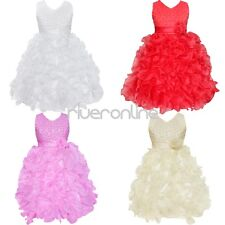 Flower Girl Princess Dress Kids Party Pageant Wedding Bridesmaid Ruffles Gown