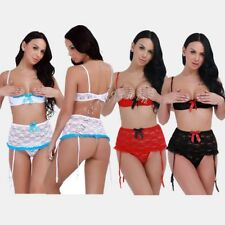 Sexy Women Plus Size Lingerie Lace Babydoll Chemise Shelf Bra Underwear G String