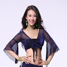 Belly Dance Middle Butterfly Sleeve Top Dancing Tribal Flash-silver Bra Costume