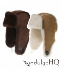 New Ozwear UGG Button Aviator Hat In Chestnut or Chocolate S M L XL