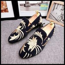 New mens casual dress  loafer suede moccasin-gommino embroidery Driving shoes