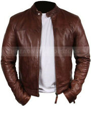 Biker Motorcyle Genuine Brown Leather Jacket All Sizes Available