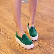Womens Platform Faux Suede Cute Slip On Sneakers Shoes Creeper Pumps New Plus SZ