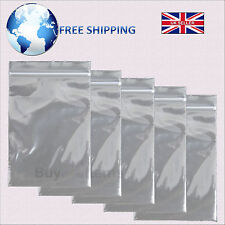 Self-Grip Seal Plain Clear Plastic Bags - Resealable Zip Lock Poly All Sizes