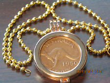 Australian One Penny Coin Holder with Chain-Necklace.