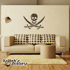 Jolly Roger Pirate Symbol Vinyl Wall Decal caribbean nautical sticker K009-W