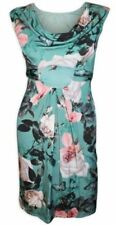 Wallis Green Floral Butterfly Print Cowl Shift Tea Slinky Dress Tie Back Sz 8 10