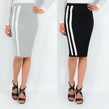High Waisted Pencil Skirt, Knee Length Striped Contrast Bodycon Midi Skirt